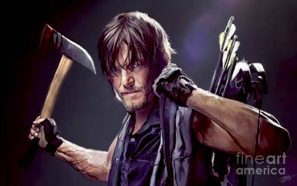 Shower Curtain Painting - Walking Dead - Daryl by Paul Tagliamonte