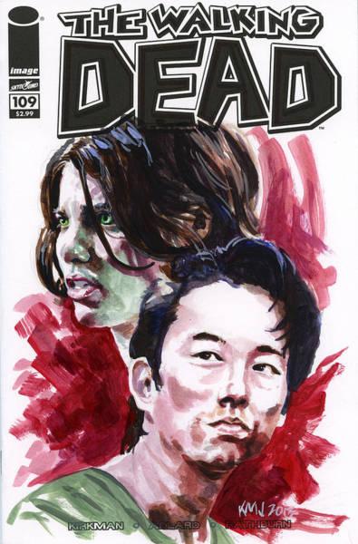 Wall Art - Painting - Walking Dead Glenn And Maggie by Ken Meyer