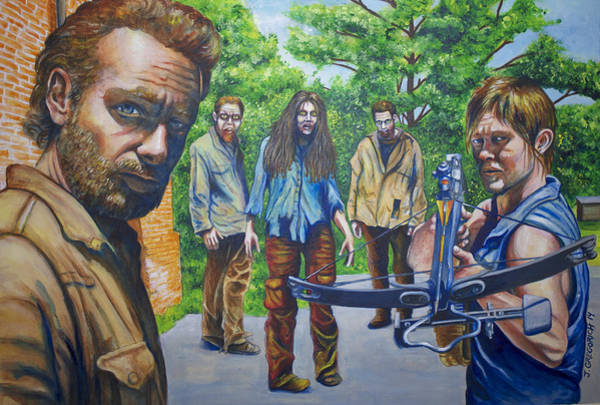 The Walking Dead Painting - Walking Dead Pop Art by Jeff Gregorich