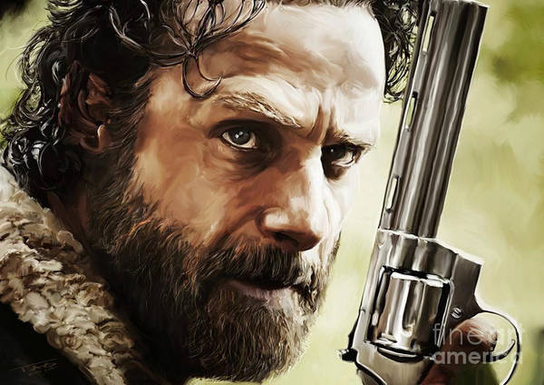 Shower Curtain Painting - Walking Dead - Rick by Paul Tagliamonte