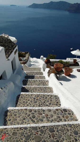 Photograph - Walking Down For Swim On Santorini Island by Colette V Hera  Guggenheim