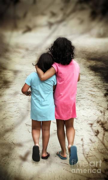 Blue Dress Photograph - Walking Girls by Carlos Caetano