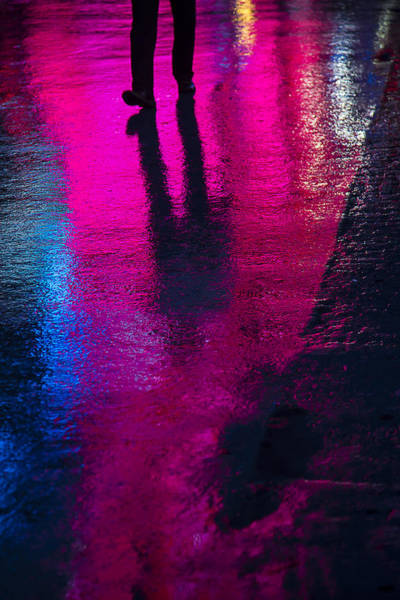 Neon Pink Photograph - Walking In The Rain by Garry Gay