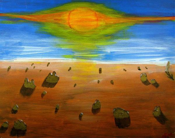 Painting - Walking On Mars #1 by Mario MJ Perron