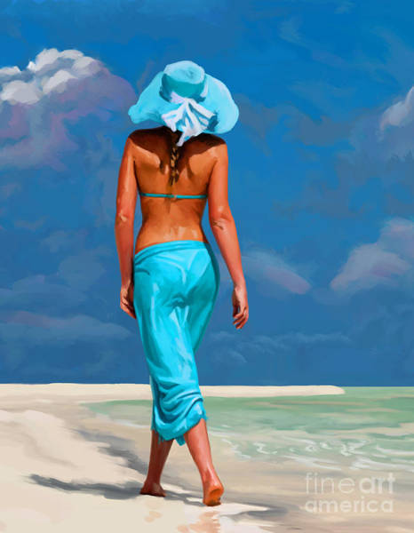 Wall Art - Painting - walking on the beach V by Tim Gilliland