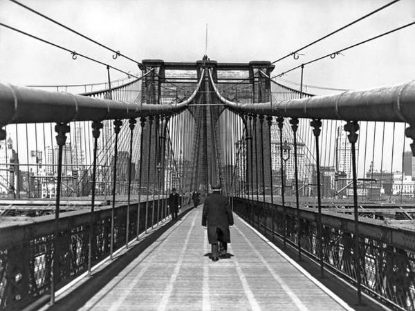 Cable-stayed Bridge Photograph - Walking On The Brooklyn Bridge by Underwood & Underwood