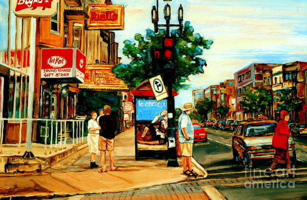 Painting - Walking Past Rialto And The Kit Kat Gift Shop Towards Pascals On Blvd. Park Avenue Montreal Scenes by Carole Spandau