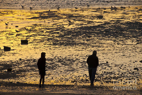 Photograph - Strangers On A Shore - Walking Silhouettes by James Lavott