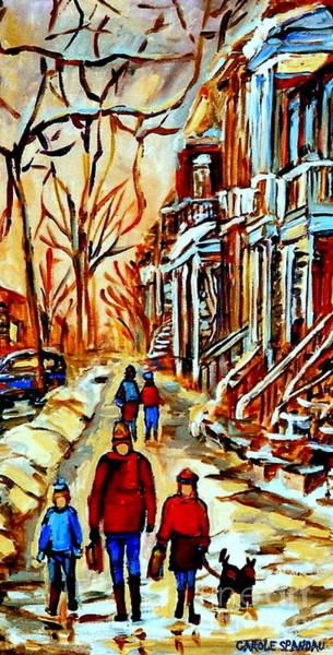 Painting - Walking The Dog By Balconville Winter Street Scenes Art Of Montreal City Paintings Carole Spandau by Carole Spandau