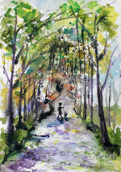 Painting - Walking The Dog On A Perfect Day by Ginette Callaway