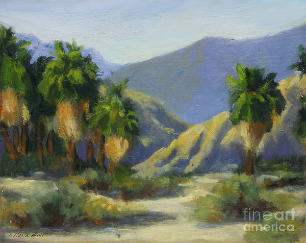 Desert Scene Painting - California Palms In The Preserve by Maria Hunt