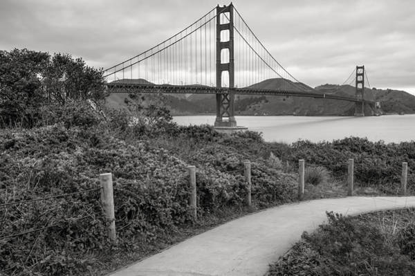 Photograph - Walking To The Golden Gate Bridge - Black And White by Gregory Ballos