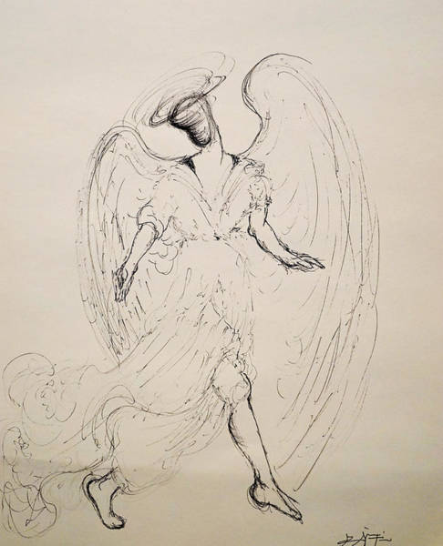 Drawing - Walking With An Angel by Giorgio Tuscani