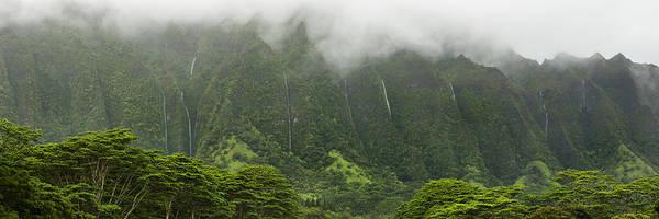 Wall Art - Photograph - Wall Of Waterfalls - Pali Mountains - Oahu Hawaii by Brian Harig