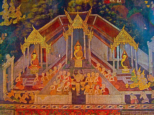 Wat Suthat Photograph - Wall Painting 3 At Wat Suthat In Bangkok-thailand by Ruth Hager