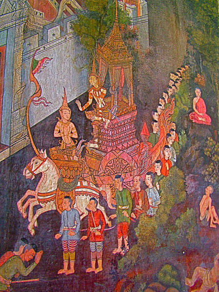 Wat Suthat Photograph - Wall Painting At Wat Suthat In Bangkok-thailand by Ruth Hager