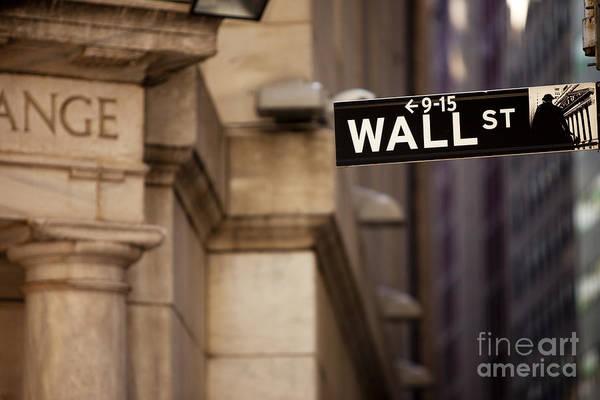 Street Sign Photograph - Wall Street by Brian Jannsen