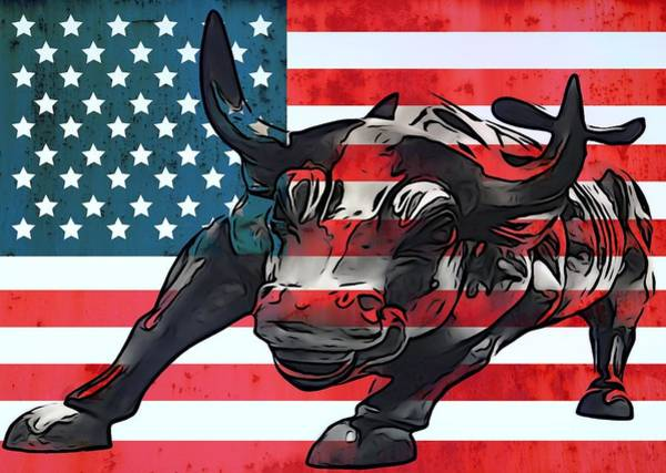 Wall Art - Mixed Media - Wall Street Bull American Flag by Dan Sproul