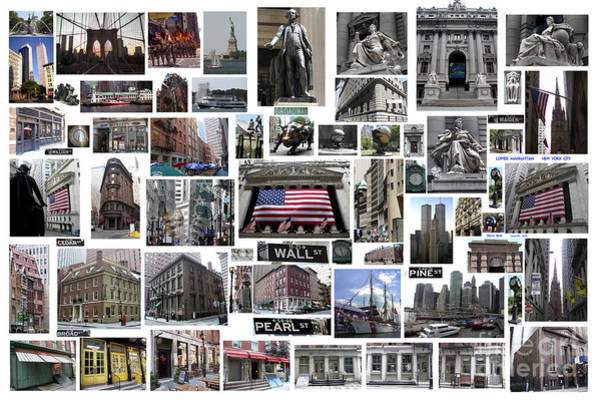 Wall Street Financial District Collage Art Print