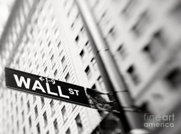 Street Sign Photograph - Wall Street Street Sign by Tony Cordoza