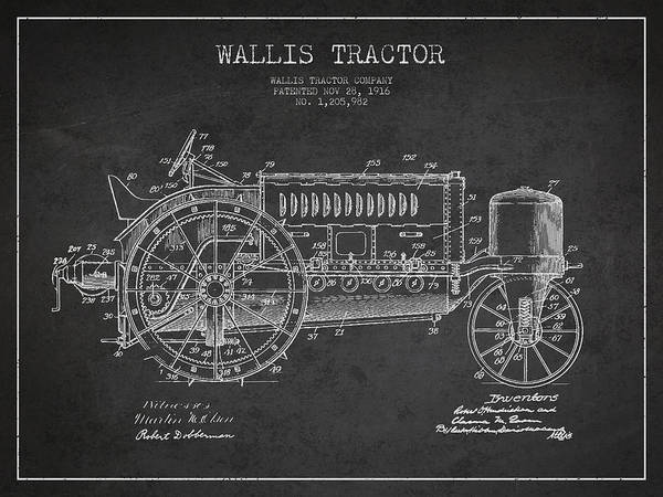 Old Tractor Digital Art - Wallis Tractor Patent Drawing From 1916 - Dark by Aged Pixel