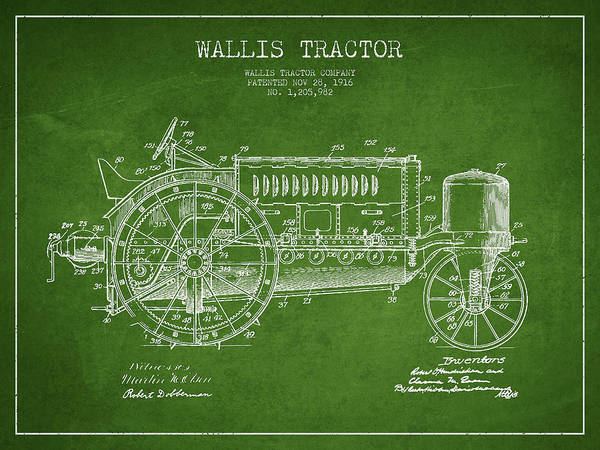 Old Tractor Digital Art - Wallis Tractor Patent Drawing From 1916 - Green by Aged Pixel