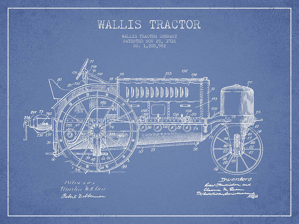 Construction Digital Art - Wallis Tractor Patent Drawing From 1916 - Light Blue by Aged Pixel
