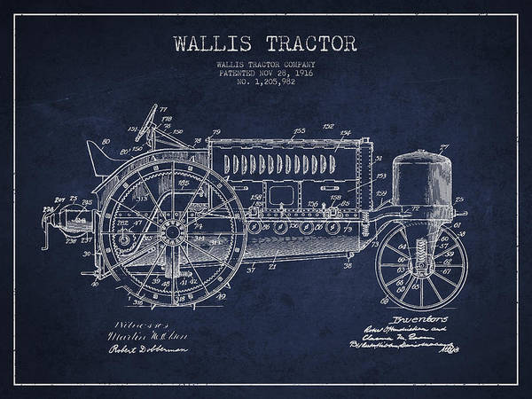 Old Tractor Digital Art - Wallis Tractor Patent Drawing From 1916 - Navy Blue by Aged Pixel