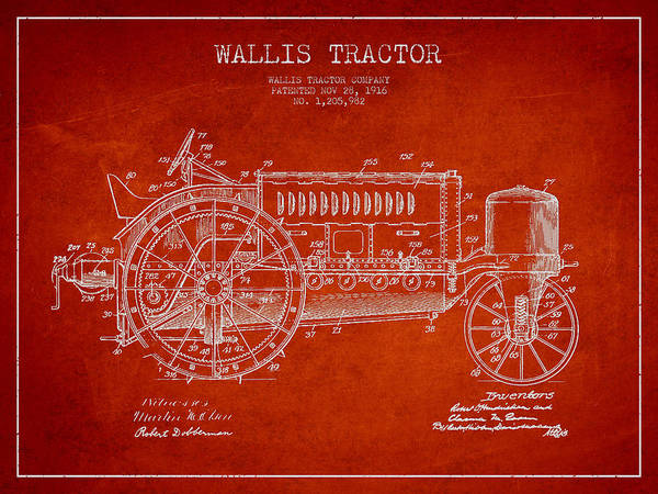 Farming Digital Art - Wallis Tractor Patent Drawing From 1916 - Red by Aged Pixel