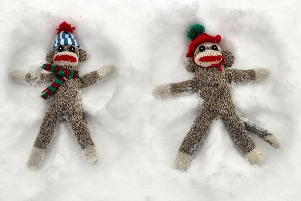 Sock Monkey Photograph - Wally And Petey Snow Angels by Jennifer Wheatley Wolf