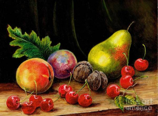 Painting - Walnuts And Cherries. by Val Stokes