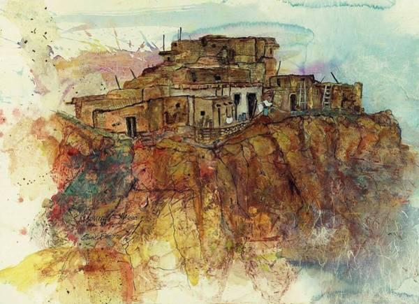 Pueblo Painting - Walpi Village First Mesa  Hopi Reservation by Elaine Elliott