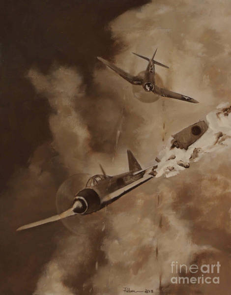 Corsair Painting - Walsh Scores Another - Grisaille by Stephen Roberson