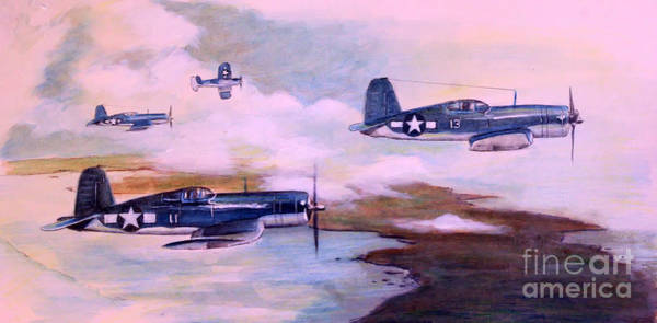 Corsair Painting - Walsh's Flight Color Study by Stephen Roberson