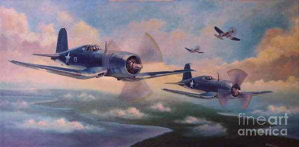 Corsair Painting - Walsh's Flight by Stephen Roberson