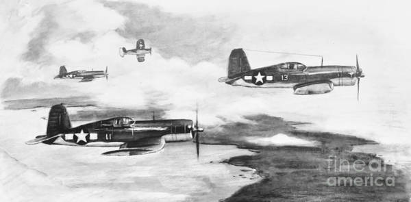 Corsair Painting - Walsh's Flight Value Sketch by Stephen Roberson