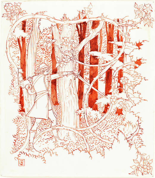 Prince Charming Wall Art - Drawing - Walter Crane, Prince Charming In The Forest by Quint Lox