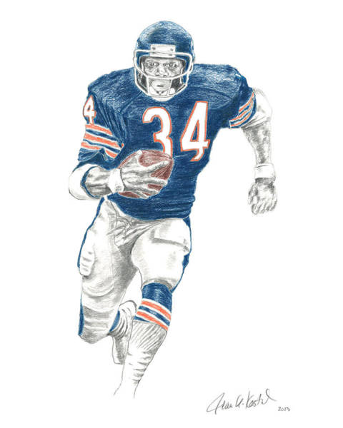 Grass Field Drawing - Walter Payton by Jean Kostal