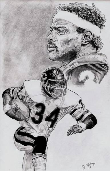 Vintage Chicago Drawing - Walter Payton by Jonathan Tooley