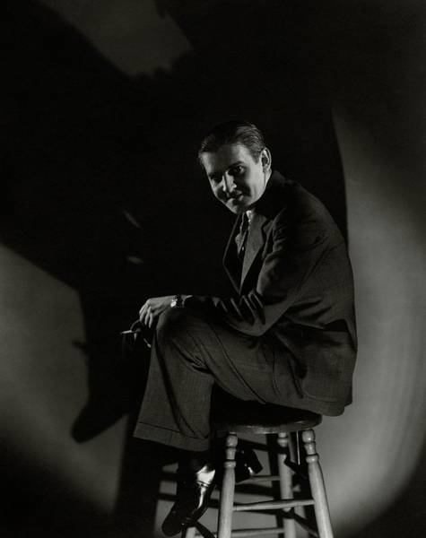 January 1st Photograph - Walter Winchell Sitting On A Stool by Edward Steichen