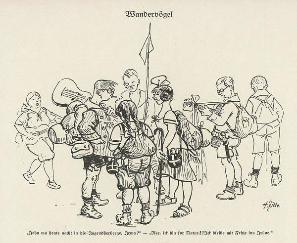 Hiking Drawing - 'wandervogel' Members Of A German Youth by Mary Evans Picture Library