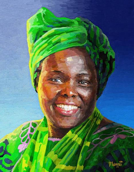 Mama Africa Wall Art - Painting - Wangari Maathai by Anthony Mwangi