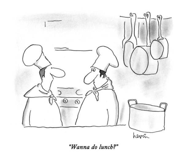 Lunch Drawing - Wanna Do Lunch? by Arnie Levin