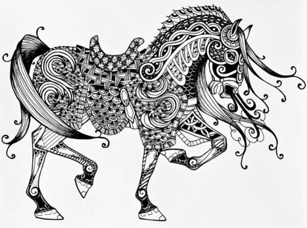 Drawing - War Horse - Zentangle by Jani Freimann
