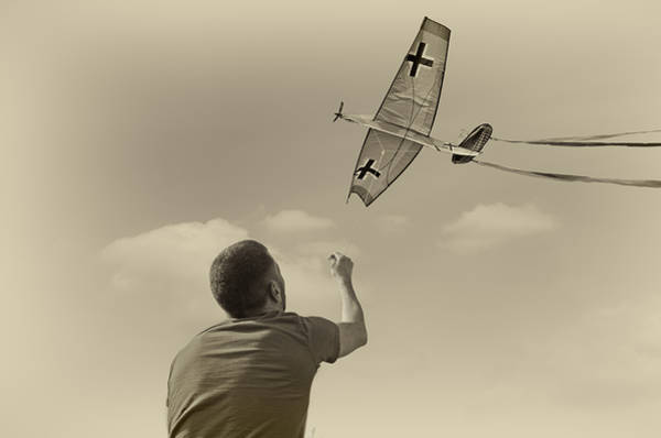 Flying A Kite Photograph - War Plane Play by Steven Michael