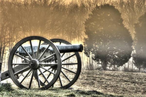 Artillery Brigade Photograph - War Thunder - 1st Ny Light Artillery Battery D The Wheatfield Sunrise Morning Mist Gettysburg by Michael Mazaika