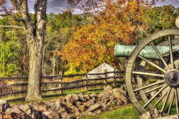 Artillery Brigade Photograph - War Thunder - 3rd Massachusetts Light Artillery Battery C - J. Weikert Farm Autumn Gettysburg by Michael Mazaika