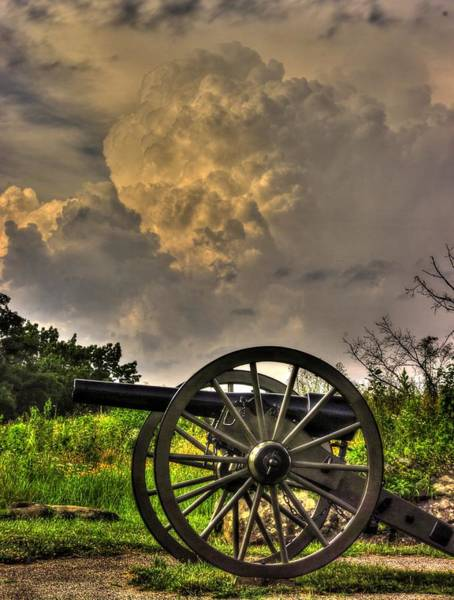 Artillery Brigade Photograph - War Thunder - The Clouds Of War 2a - 4th New York Independent Battery Above Devils Den Gettysburg by Michael Mazaika