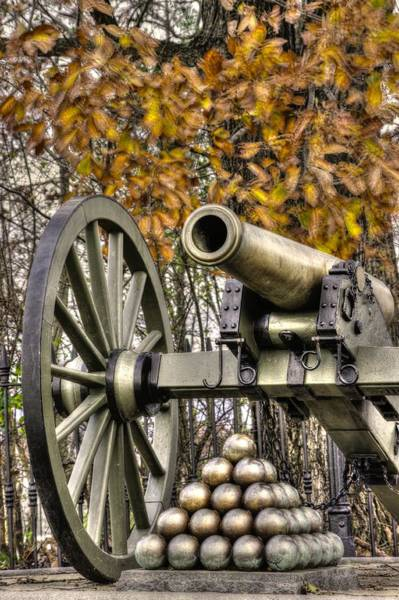 Wall Art - Photograph - War Thunder - Union Artillery At The Copse Of Trees Mid-autumn Morning Gettysburg by Michael Mazaika