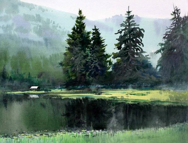 Trumpeter Swan Painting - Ward Lake Ketchikan by Vladimir Zhikhartsev